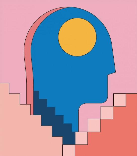 Bezsenność, Psychologia Ilustracja Koncepcja Zdrowia Psychicznego Z Ludzką Głową Sylwetka Jako Drzwi I Abstrakcyjne Schody Architektury. Minimalistyczna Modna Ilustracja Stylu. Premium Wektorów