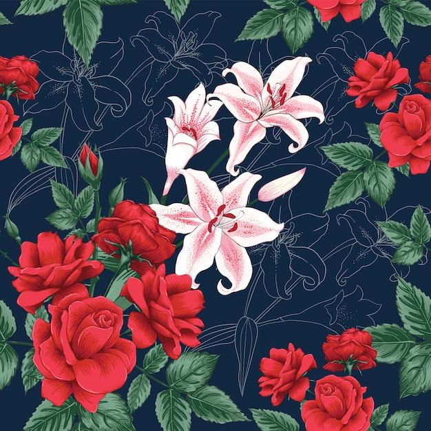 Bezszwowa deseniowa czerwieni róża i lilly kwitniemy tło. Premium Wektorów