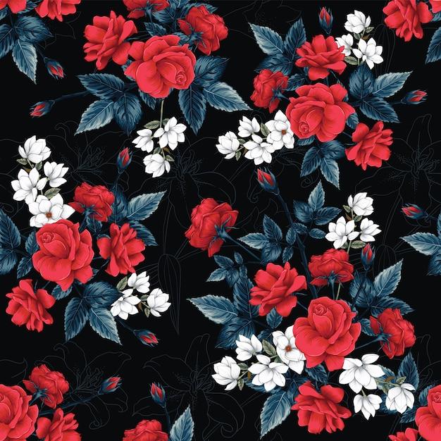 Bezszwowa deseniowa czerwieni róża, magnolia i lilly kwitnie tło. Premium Wektorów