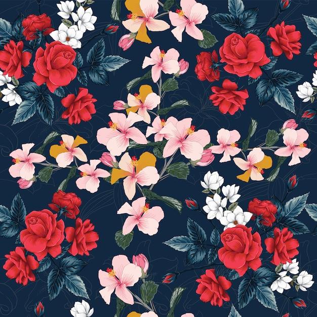 Bezszwowa deseniowa czerwona róża, hibiskus, magnolia i lilly kwitnie tło. Premium Wektorów