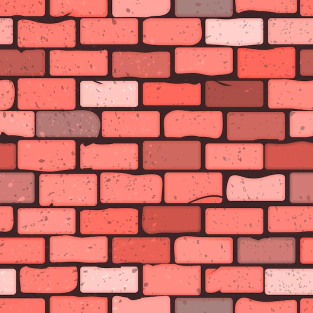 Bezszwowa deseniowa tekstura ściana z cegieł Premium Wektorów