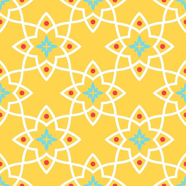 Bezszwowa deseniowa żółta arabska ornamentacyjna ceramiczna płytka Premium Wektorów
