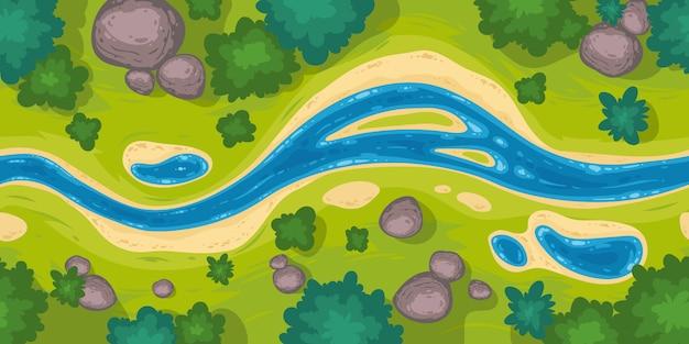 Bezszwowa Granica Z Widokiem Z Góry Rzeki Darmowych Wektorów