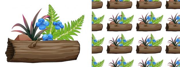 Bezszwowa Konstrukcja Z Niebieskimi Kwiatami I Paprociami Darmowych Wektorów