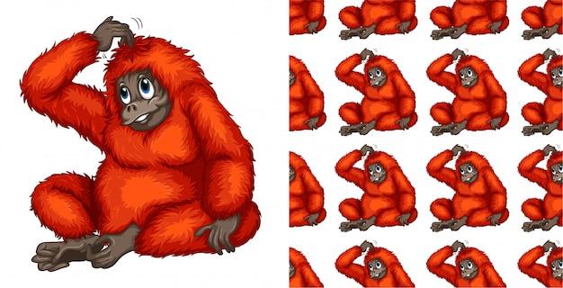 Bezszwowa małpa zwierzęcia kreskówki wzór Darmowych Wektorów