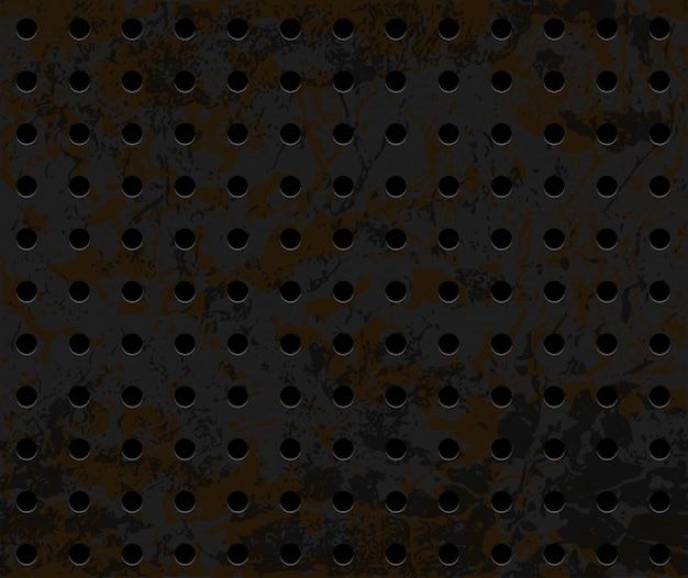 Bezszwowa Ośniedziała Perforowana żelazna Tło Tekstura Premium Wektorów