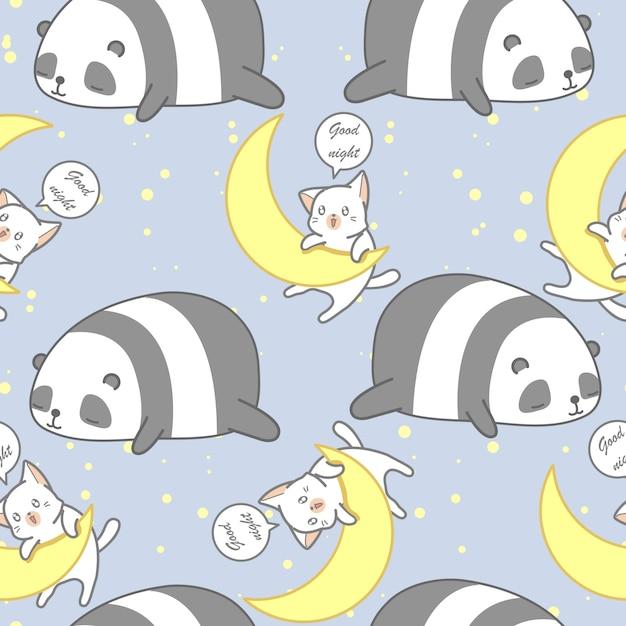 Bezszwowa panda i kot w dobranoc tematu wzorze. Premium Wektorów