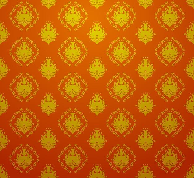 Bezszwowa Retro Rocznika Barokowa Bezszwowa Deseniowa Tapeta W Czerwonym I Złotym Kolorze Premium Wektorów