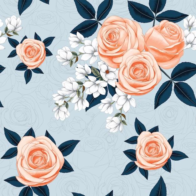 Bezszwowa Wzór Menchii Róża I Biała Magnolia Kwitniemy Na Abstrakcjonistycznym Tle Premium Wektorów
