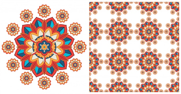 Bezszwowa z kolorowym wzorem mandali Darmowych Wektorów