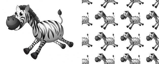 Bezszwowa Zebra Wzoru Kreskówka Darmowych Wektorów