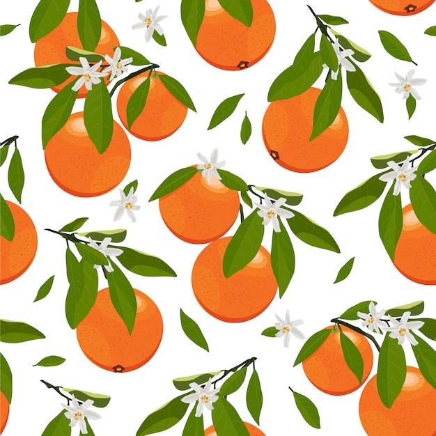 Bezszwowe deseniowe pomarańczowe owoc z kwiatami i liśćmi Premium Wektorów