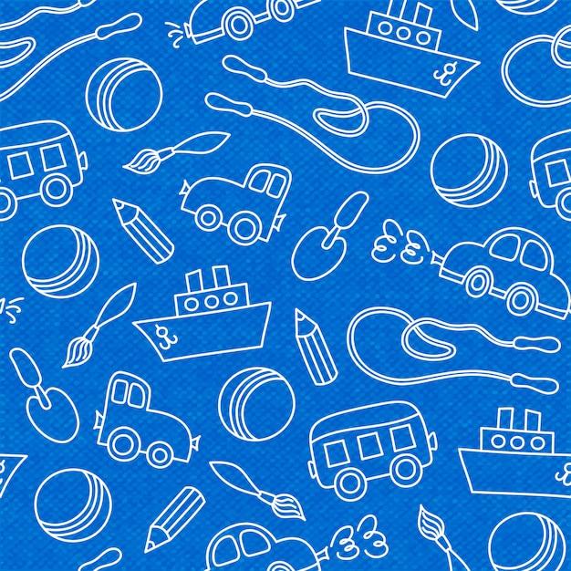 Bezszwowe doodle dzieci zabawki miarka wiadro i piłka Darmowych Wektorów