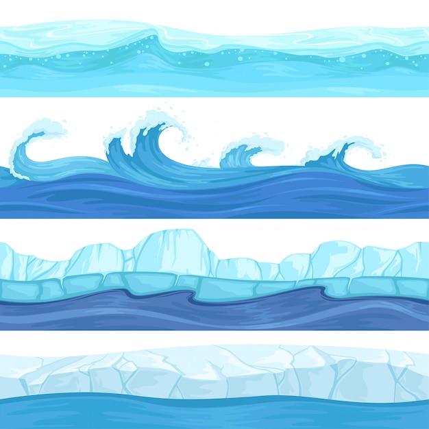 Bezszwowe Fale Wodne. Tła Tekstury Oceanu I Rzeki Na Powierzchni Cieczy I Lodu Do Gier Platformowych 2d Premium Wektorów