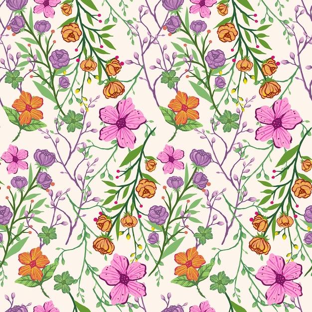 Bezszwowe kolorowy wzór wyciągnąć rękę kwiaty wzór Premium Wektorów
