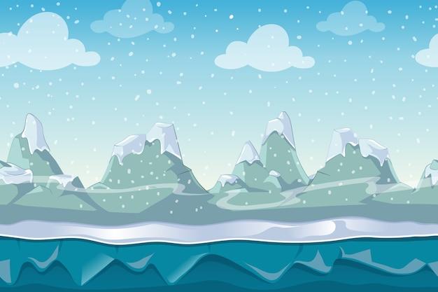 Bezszwowe Kreskówka Zimowy Krajobraz Wektor Do Gry Komputerowej. śnieg I Niebo Góra, Ilustracja środowiska Na Zewnątrz Darmowych Wektorów