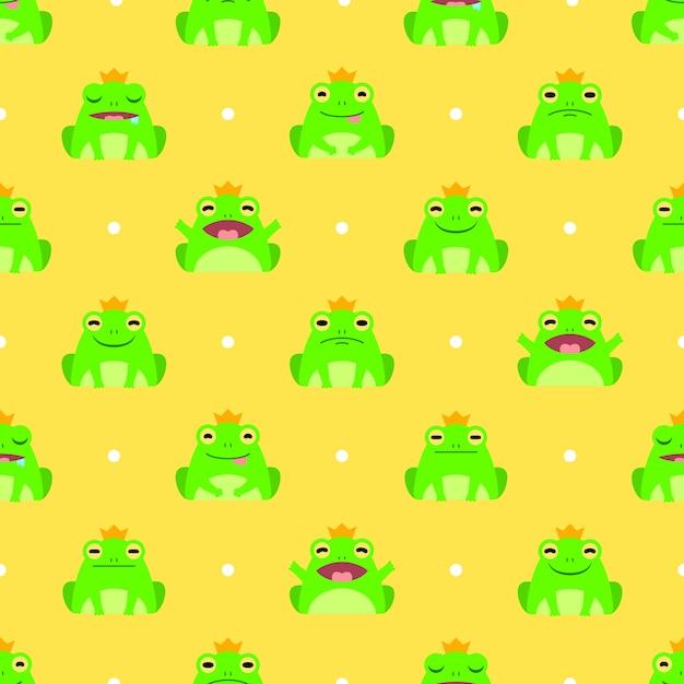Bezszwowe ładny żaba Wektor Wzór Tła Premium Wektorów