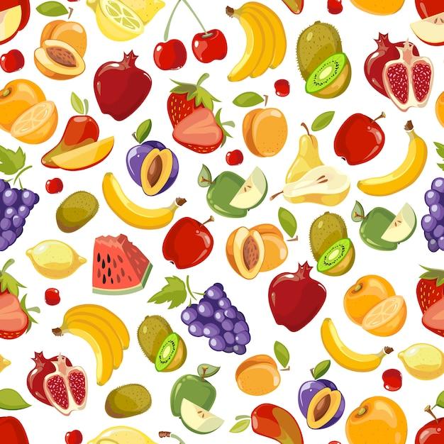Bezszwowe lato soczyste owoce i jagody egzotyczny koktajl Premium Wektorów