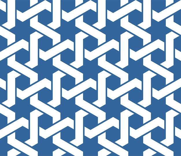Bezszwowe Niebieski Arabski Ornament Z Wzorem Splecionych Linii Premium Wektorów