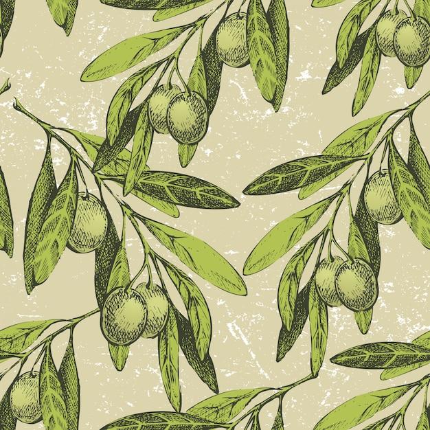 Bezszwowe ornament z ręcznie rysowane gałązki oliwne Premium Wektorów