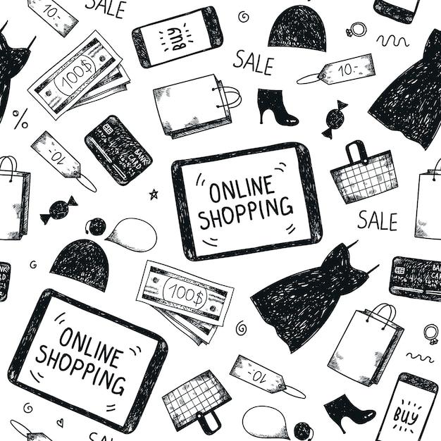Bezszwowe Ręcznie Rysowane Wzór. Zakupy Online Doodle Tło Premium Wektorów