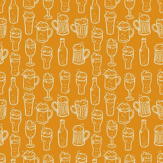 Bezszwowe Tło Innego Piwa. Ręcznie Rysowane Ilustracje Premium Wektorów