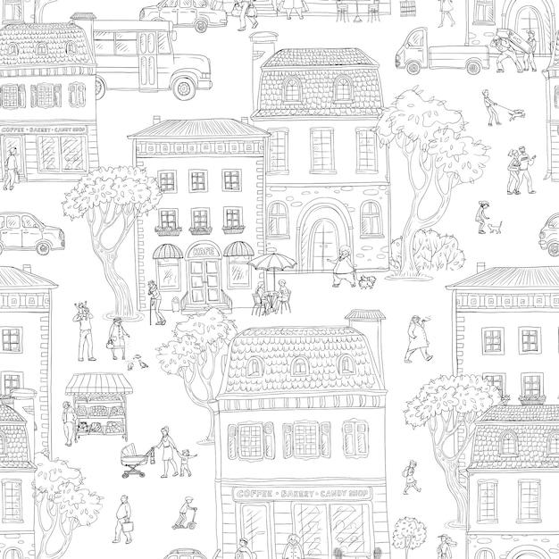 Bezszwowe Tło Wzór. Miejska Ulica W Europejskim Mieście. Spacerujący Ludzie, Budynki Mieszkalne Z Kawiarniami I Sklepami, Różne Sytuacje Miejskiego życia Premium Wektorów