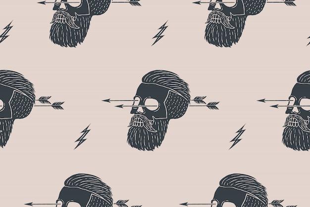 Bezszwowe Tło Wzór Rocznika Hipster Czaszki Ze Strzałką Premium Wektorów
