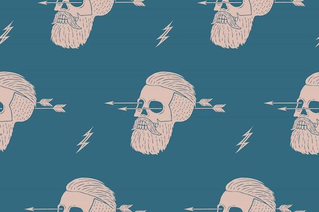 Bezszwowe Tło Wzór Z Rocznika Hipster Czaszki Ze Strzałką. Grafika Do Pakowania Papieru I Tkaniny Tekstury Koszuli. Ilustracja Premium Wektorów