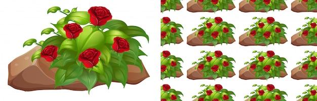 Bezszwowe Tło Z Czerwonych Róż Na Skale Darmowych Wektorów