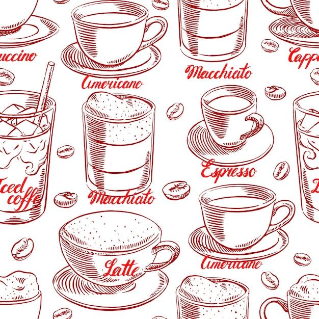 Bezszwowe Tło Z Różnych Filiżanek Kawy I Ziaren Kawy. Ręcznie Rysowane Ilustracji Premium Wektorów
