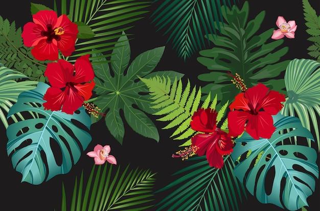 Bezszwowe wektor wzór tropikalny liści z czerwonym kwiatem hibiskusa Premium Wektorów