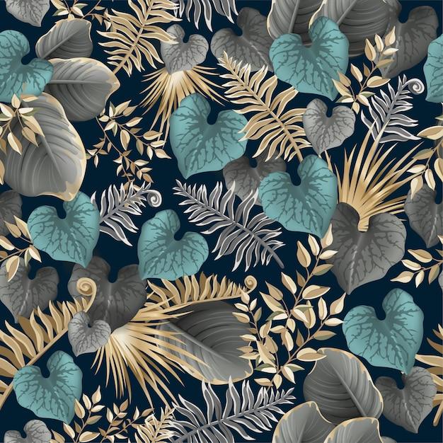 Bezszwowe wzór ciemne liście palmy, liany Premium Wektorów