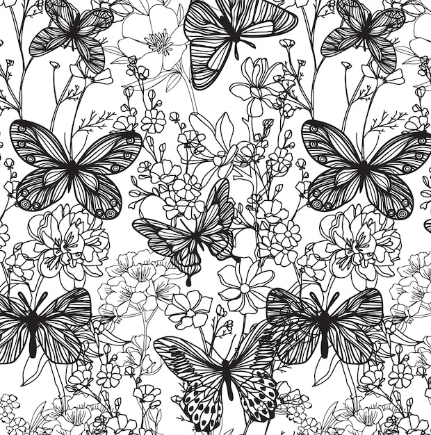 Bezszwowe Wzór Motyla I Kwiat Ręcznie Szkic Z Grafiki Liniowej Premium Wektorów