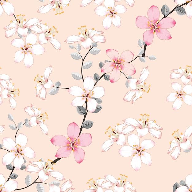 Bezszwowe Wzór Różowe Dzikie Kwiaty Na Na Białym Tle Pastelowe Premium Wektorów