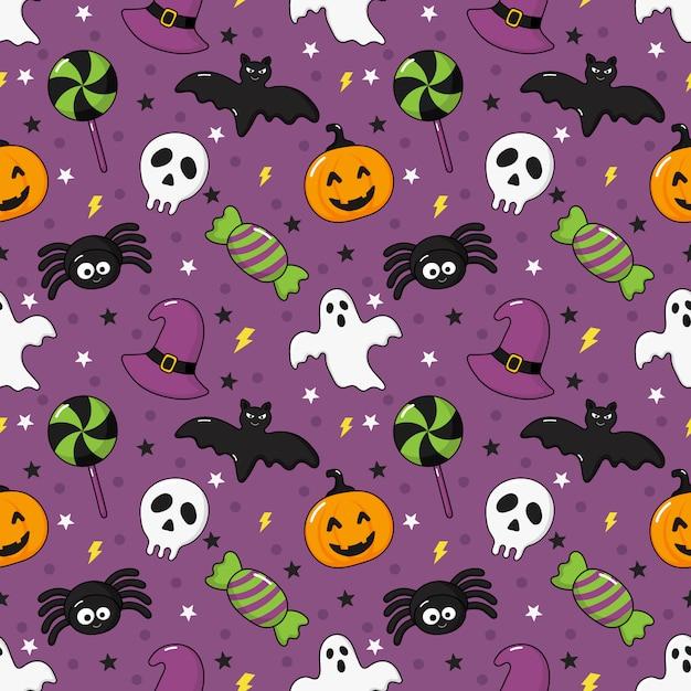 Bezszwowe wzór szczęśliwy halloween ikony na fioletowym tle Premium Wektorów