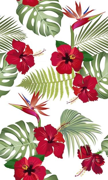 Bezszwowe wzór tropikalny liści z czerwonym kwiatem hibiskusa i rajskiego ptaka Premium Wektorów