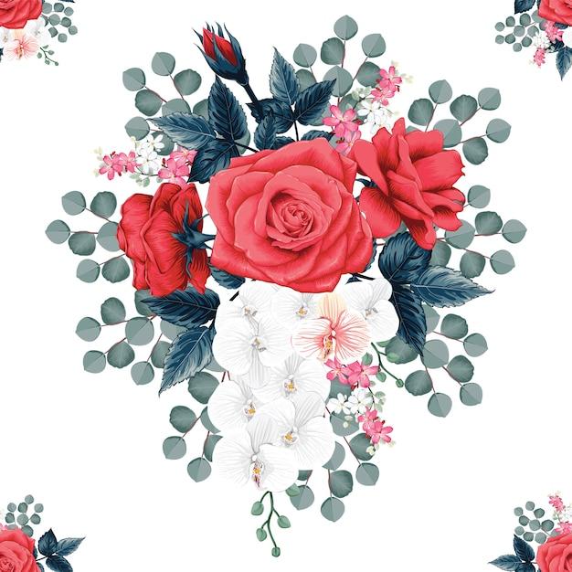 Bezszwowi deseniowi botaniczni piękni czerwieni róży i orchidei kwiaty odizolowywali białego tło. Premium Wektorów
