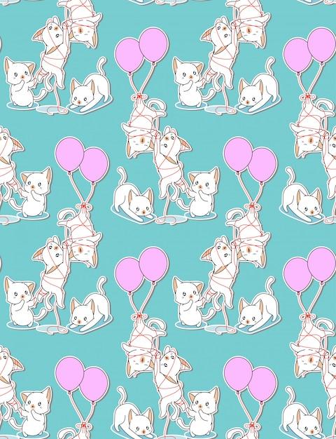 Bezszwowi Dziecko Koty Z Balonu Wzorem. Premium Wektorów