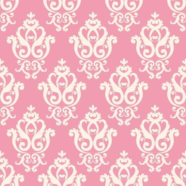 Bezszwowy adamaszkowy wzór. różowa tekstura w stylu vintage w stylu królewskim. Premium Wektorów