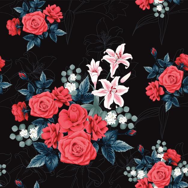 Bezszwowy Deseniowy Botaniczny Piękny Czerwieni Róży Kwiaty I Lilly Czarny Tło. Premium Wektorów