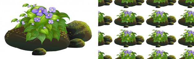 Bezszwowy Deseniowy Projekt Z Purpurowymi Kwiatami Na Mech Kamieniach Darmowych Wektorów