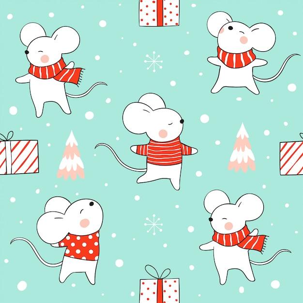 Bezszwowy deseniowy szczur w śniegu dla bożych narodzeń i nowego roku na zieleni. Premium Wektorów