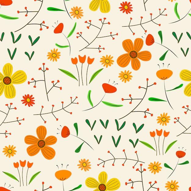 Bezszwowy Deseniowy Tło Z Kwiatami I Liśćmi. Premium Wektorów