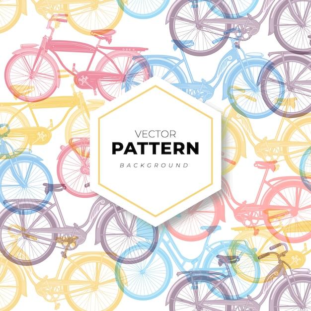 Bezszwowy deseniowy tło z rowerami w pastelowych kolorach Premium Wektorów
