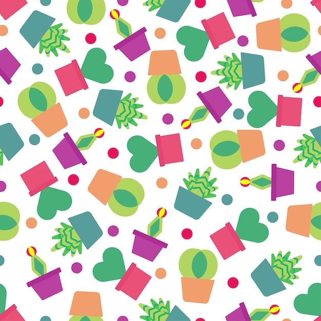 Bezszwowy Deseniowy Tło Z ślicznym Kaktusem. Premium Wektorów