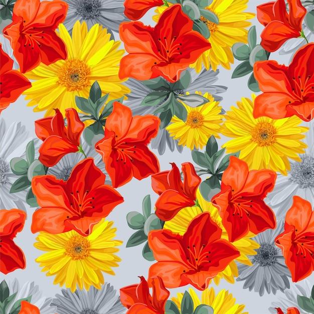 Bezszwowy Deseniowy Tropikalny Kwiat Premium Wektorów