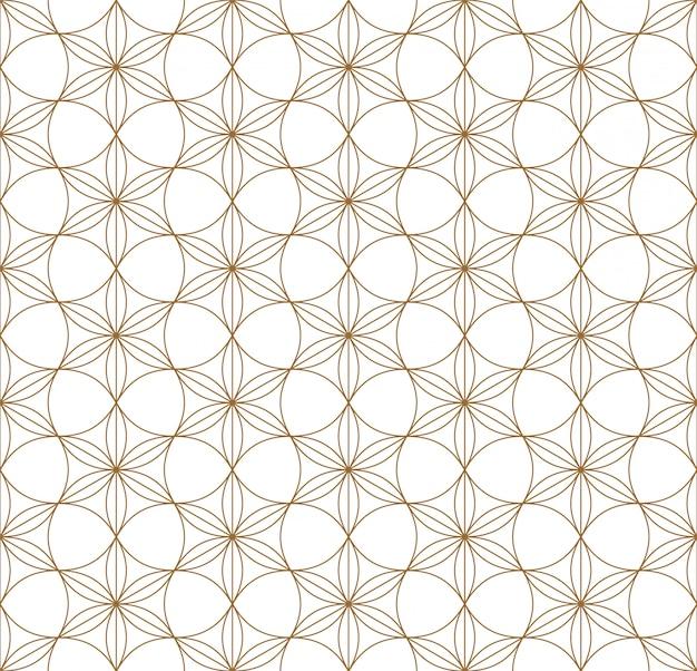 Bezszwowy geometryczny wzór oparty na japońskim ornamentie kumiko. Premium Wektorów
