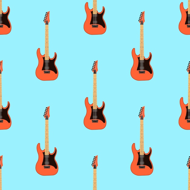 Bezszwowy gitara elektryczna wzór na bławym tle Premium Wektorów