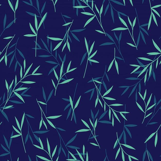 Bezszwowy ładny Zielony Bambusa Liści Wzór Premium Wektorów